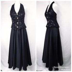 Dave & Johnny Black Halter Style Formal Gown